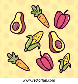 vegetables line and fill style icon set vector design
