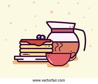 Breakfast pancakes coffee cup and pot line and fill style icon vector design