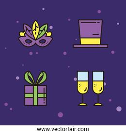 mardi gras mask hat gift and champagne cups vector design