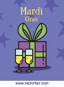mardi gras gift with champagne cups vector design