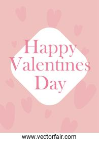 happy valentines day card with hearts vector design