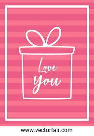 Love you card with gift vector design