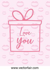 Love you card with gift and kisses vector design