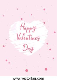 happy valentines day pointed card vector design
