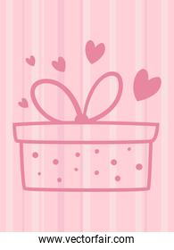 striped love card with gift and hearts vector design