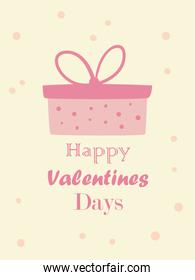 happy valentines day card with gift vector design