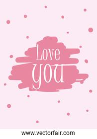 pointed love you card vector design
