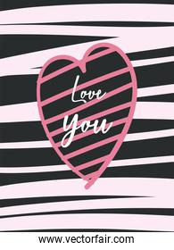 Love you card with striped heart vector design