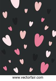 black love card with hearts vector design