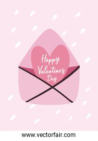 happy valentines day card with heart in envelope vector design