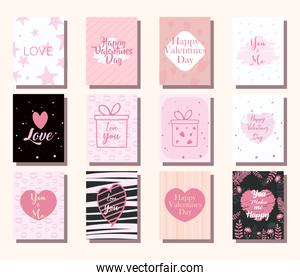 happy valentines day cards icons collection vector design
