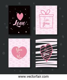happy valentines day cards icons group vector design