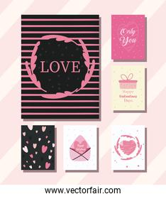 happy valentines day cards collection of icons vector design
