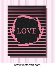 pink black and striped love card vector design