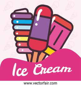 ice creams bars with sticks vector design