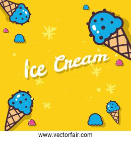 Ice creams with cones on yellow background vector design