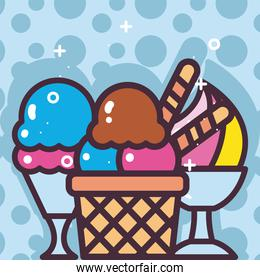 ice creams in basket and cups vector design