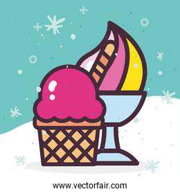 ice creams in cup and basket vector design