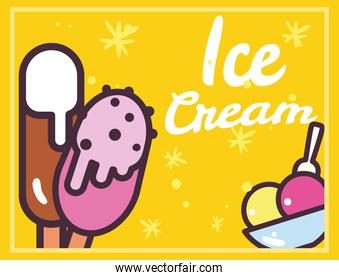 Ice creams with sticks and cup vector design