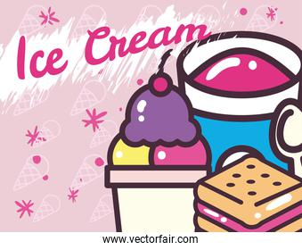 Ice creams bucket with spoon glass and cookie vector design