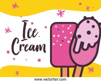 Ice creams bars with chips and sticks vector design