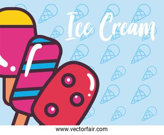 ice creams with sticks vector design