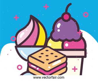 ice creams in cup glass and cookie vector design