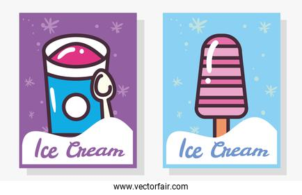 ice creams bucket with spoon and stick labels vector design