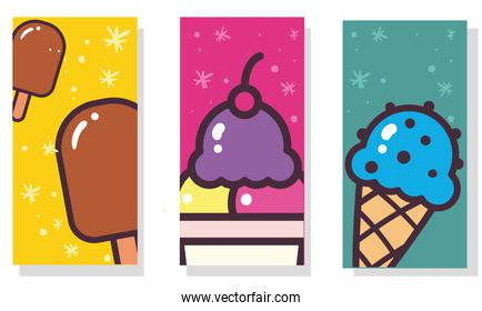 ice creams with sticks cone and glass labels vector design