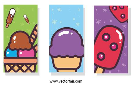 ice creams with sticks and cones labels vector design