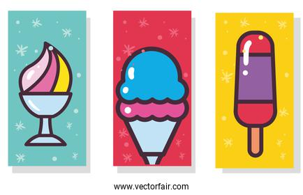 Ice creams with stick and cups labels vector design