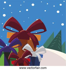 merry christmas gifts vector design