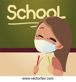 Back to school of girl kid with medical mask and board vector design