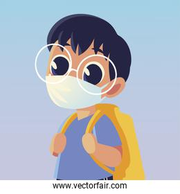 Back to school of boy kid with medical mask vector design