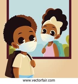 Back to school of girl at window and boy kid with medical masks vector design