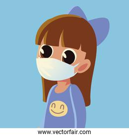 Back to school of girl kid with medical mask vector design