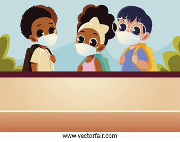 Back to school of boys and girl with medical masks vector design