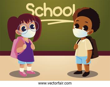 Back to school of girl and afro boy kid with medical masks vector design