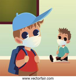 Back to school of boys with medical masks pencil and notebook vector design