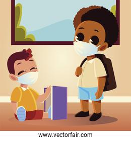Back to school of boys with medical masks and notebook vector design