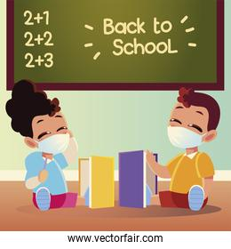 Back to school of girl and boy kid with medical masks and notebooks vector design