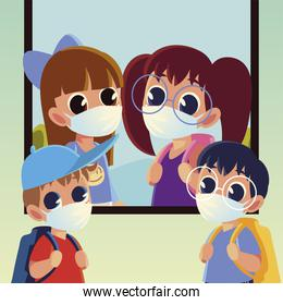 Back to school of kids with medical masks vector design