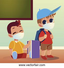 Back to school of boys with medical masks bag and notebook vector design