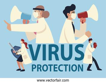 covid 19 virus protection and doctors with masks and megaphones vector design