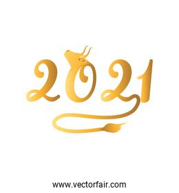 Chinese new year 2021 with bull isolated vector design