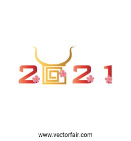 Chinese new year 2021 with bull horns and flowers vector design