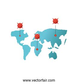 covid 19 virus with world map vector design