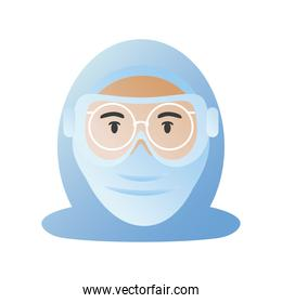 doctor with protective covid 19 virus mask and glasses vector design