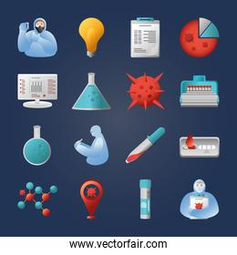 covid 19 virus research and vaccine icons bundle vector design