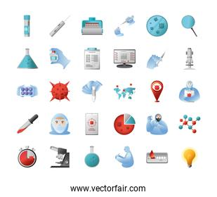 covid 19 virus research and vaccine icons group vector design